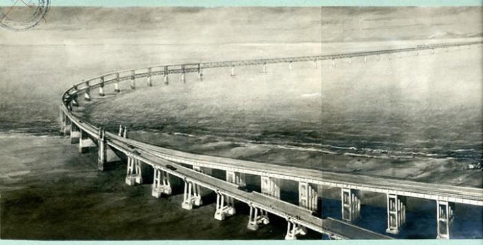 Невероятно, но мост через Керченский пролив должен был быть построен еще в 1949 году. Как выглядят его чертежи