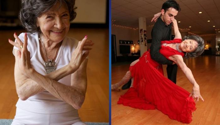 После 84 лет занятий йогой она увлеклась… бальными танцами! Вот это человек!