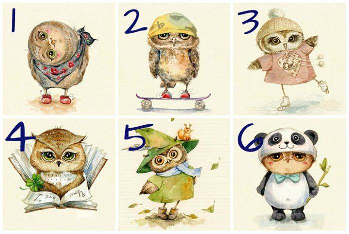 Очень точный тест! Выберите понравившуюся сову и узнайте больше о вашем характере!