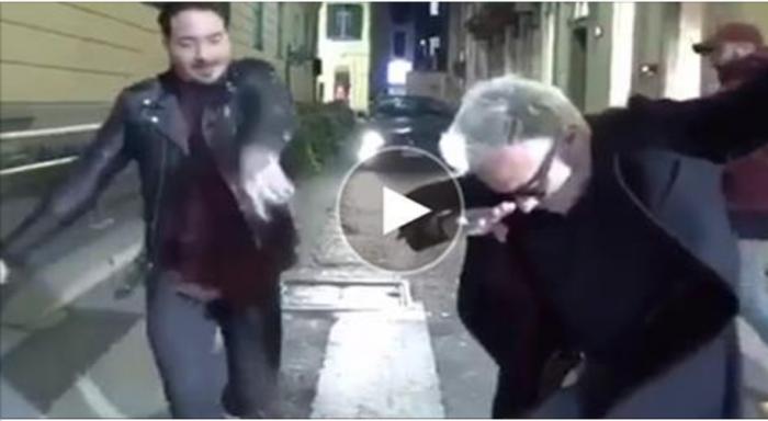 И снова этот итальяшка! Джанлука Вакки танцует на улице в компании еще двоих мужчин