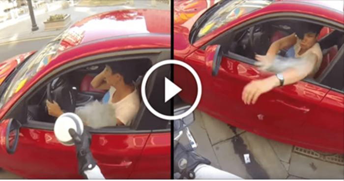 Нахалка выбросила бутылку из окна автомобиля. Тогда судьба преподнесла ей урок