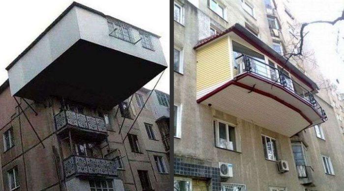 Наглые соседи: абсурдное расширение балконов, которое ни в какие рамки не лезет